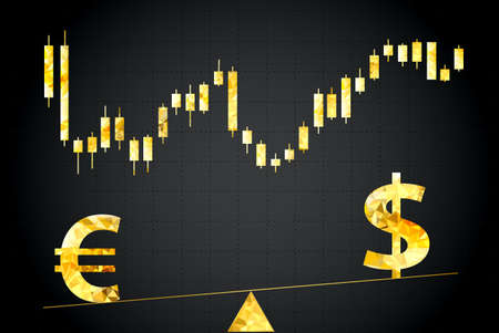Symbols of euro and dollar on scales. In the background forex chart.