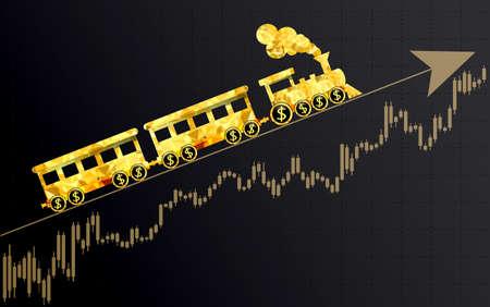 Upward trend as a metaphor train.Financial. Illustration