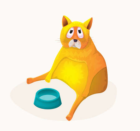 Funny fat cat.Vector illustration in cartoon style.