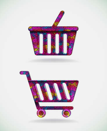 Shopping cart icons.Vector illustration in vibrant colors. Illustration