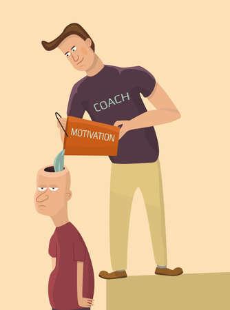 Trainer motivates sad man.Vector illustration.  イラスト・ベクター素材