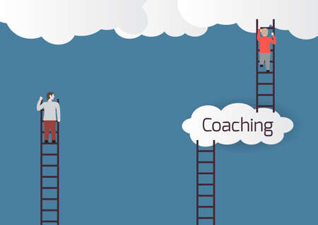 ambitions: Metaphor about coaching.Vector illustration. Illustration