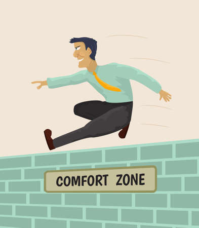 Businessman overcoming comfort zone.Vector illustration.