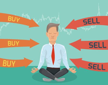 Buy or sell? Businessman meditating on the financing decision. Illustration