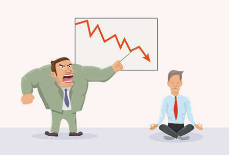 dissatisfaction: Angry boss and relaxed worker.Vector illustration of office work.