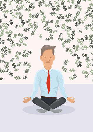 Businessman meditating about money.The concept of financial. Illustration