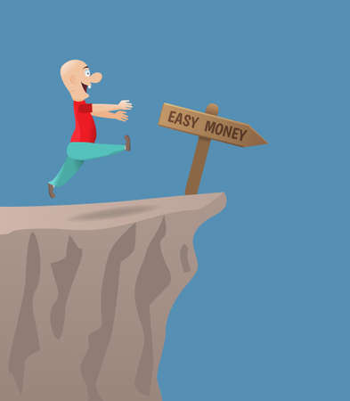 The pursuit of easy money.Vector illustration.