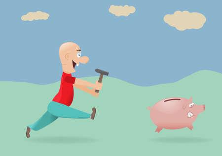 Man chasing piggy bank.Vector illustration. Illustration