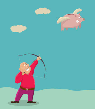 Hunting the piggy bank.Financial metaphor.