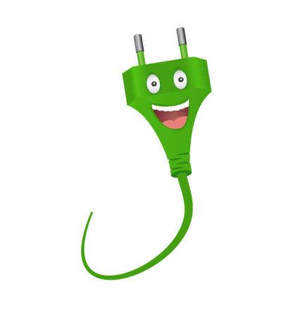 Smiling green plug.Cartoon character.