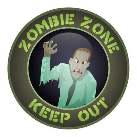 Sign with the inscription zone zombie.Vector illustration. Illustration