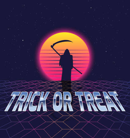 eighties: Trick or treat.Halloween card in the style of the eighties. Illustration