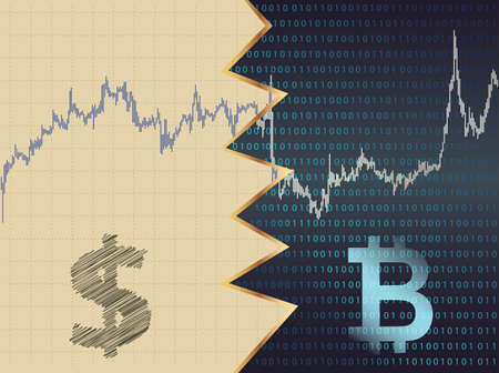 unstable: Dollar and Bitcoin confrontation.In the background price chart.