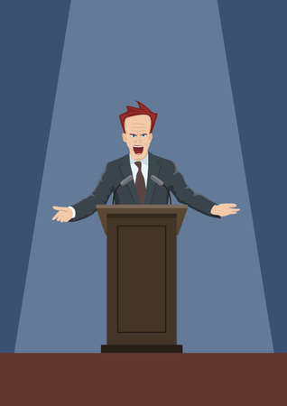 gesticulation: The man speaking from the rostrum.Vector illustration