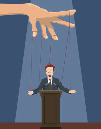 The speaker as a puppet on the ropes.Vector illustration. Illustration