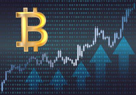 Bitcoin シンボルとグラフ。ベクトルの図。