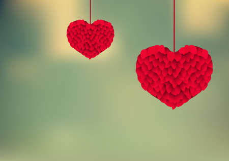 Valentines background with hearts of leaves.Vector illustration.