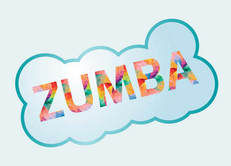 Badge with colored inscription Zumba.Vector illustration. Çizim