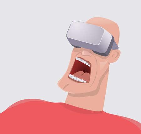 Man terrified by virtual reality.Vector illustration. Illustration