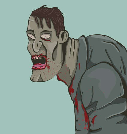 hunched: Hunched cartoon zombie.Vector illustration.