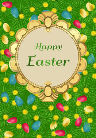 Easter card with colorful pattern.Vector illustration.