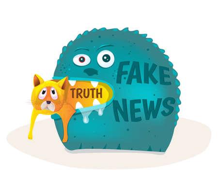 Fake news devours truth.Vector illustration.