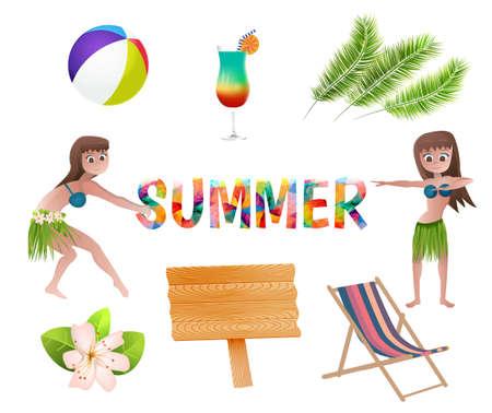 Set of summer vacation items.Vector illustration. Illustration