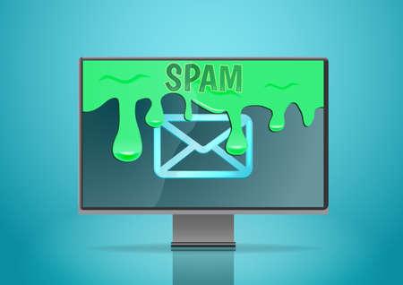 Spam overstroomt het beeldscherm. E-mailbeveiligingsconcept