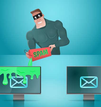 Mens die e-mail spammen. E-mail beschermingsconcept Vector illustratie.