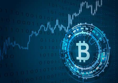 Bitcoin のシンボルと価格のグラフ。Cryptocurrency のコンセプトです。