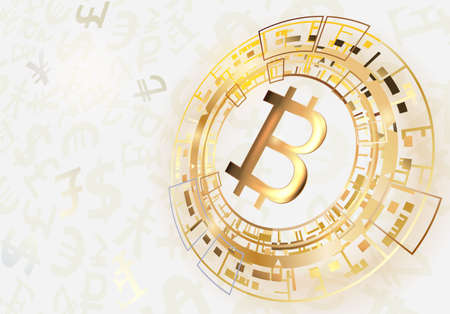 Bitcoin symbol on a bright  background.Vector illustration.