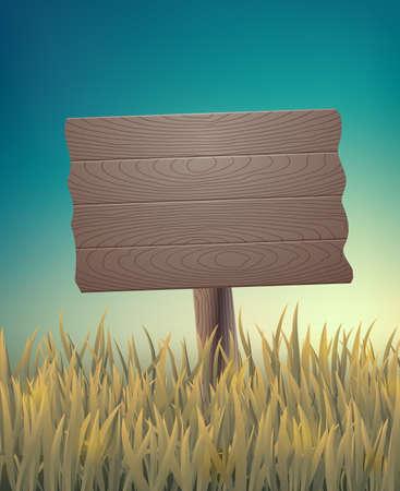木製看板とビンテージの背景。ベクトルの図。