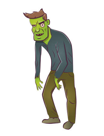 Cartoon zombie on a white background.Vector illustration. Illustration
