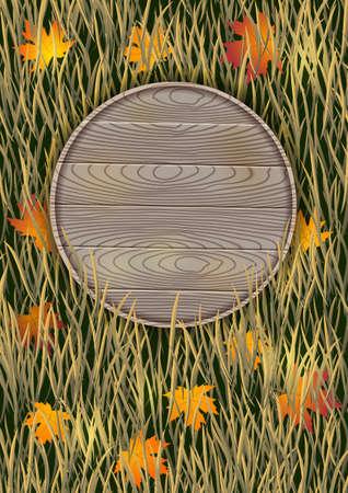 木の板と乾いた草秋の背景。  イラスト・ベクター素材