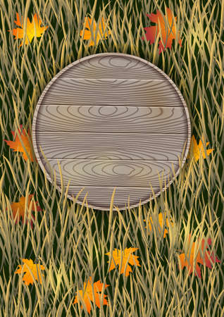 Autumn background with a wooden board and dry grass. Illustration