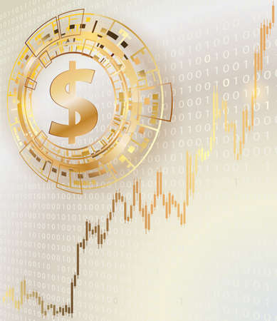 Dollar symbol and graph.Binary code in the background.