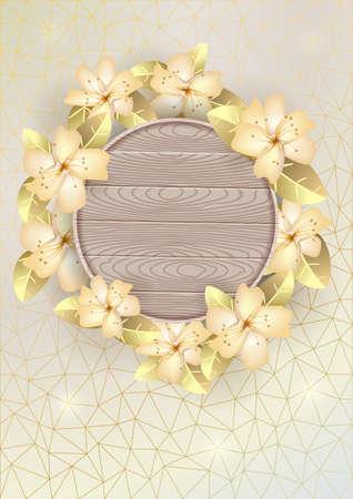 Heller Hintergrund mit hölzernem Brett und Blumen. Vektorillustration. Standard-Bild - 86700260