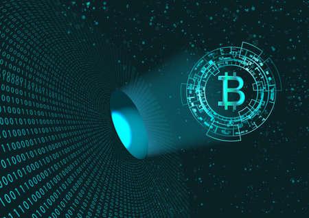 Bitcoin-Symbol und Binärcode. Konzept der digitalen Währung