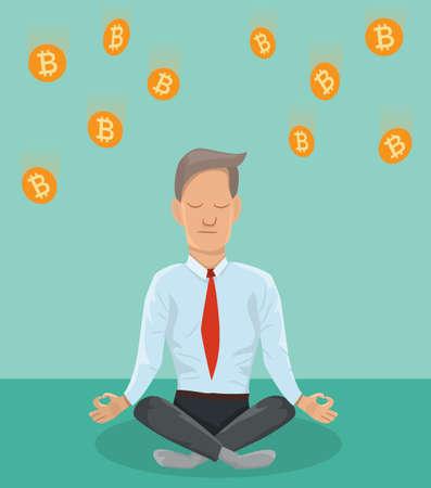 ビットコインについて瞑想の実業家。金融の概念。