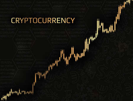 Cryptocurrency and graph with a price increase.Concept of digital finance.