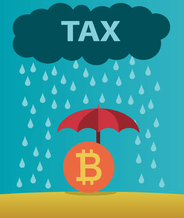 Bitcoin protected from taxes.Cryptocurrency concept of taxation.