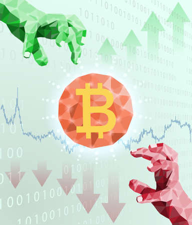 Bitcoin trading and price fluctuations.Financial concept.