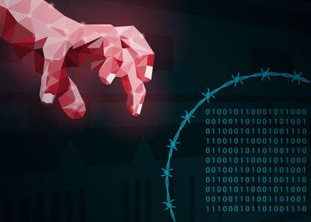 Concept of data protection on the internet.Vector illustration. Archivio Fotografico - 95164870