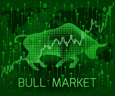 Silhouette bull and the inscription bull market. Financial metaphor.
