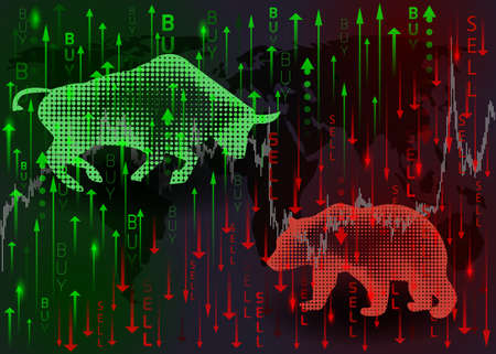 Toro verde y oso rojo. El concepto de negociación del mercado de valores.
