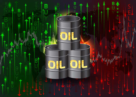 Oil barrels and buy and sell arrows.Vector illustration.