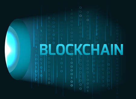 Blockchain concept with binary code.Vector illustration. Ilustração
