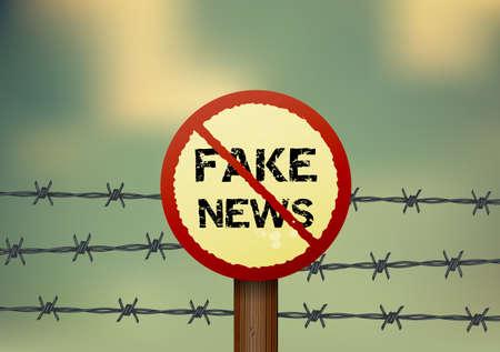 Prohibition sign for fake news.Vector illustration. Archivio Fotografico - 121827540
