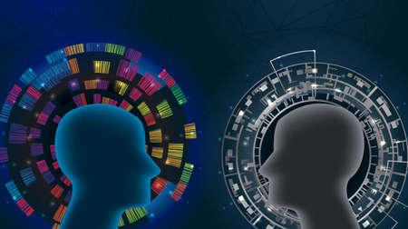 Creative thinking vs logical thinking.Vector illustration.
