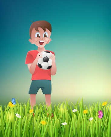 Boy with football on the meadow.Vector illustration. Stock Illustratie